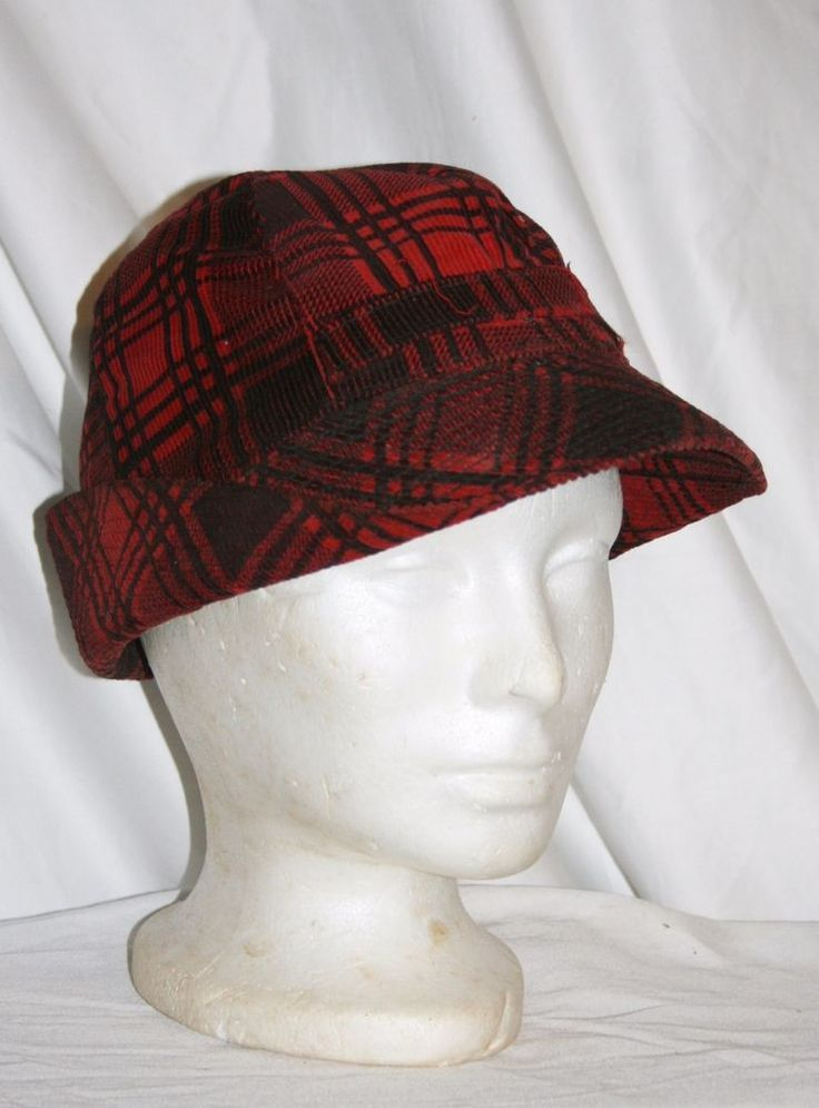 VINTAGE RED & BLACK PLAID CORDUROY JONES STYLE HUNTING HAT WITH EAR FLAPS 7-1/8 #Outdoor