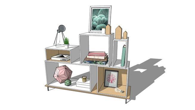 Modern square box bookcase - 3D Warehouse
