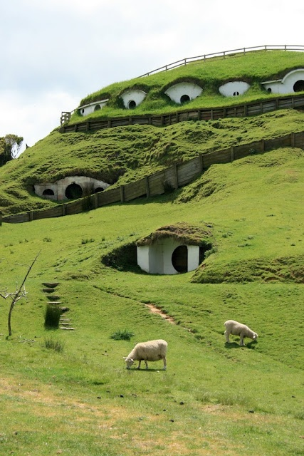 Matamata, a town in New Zealand where scenes from the Lord of the Rings movie were filmed. Some structures remain from the set as tourist attractions.