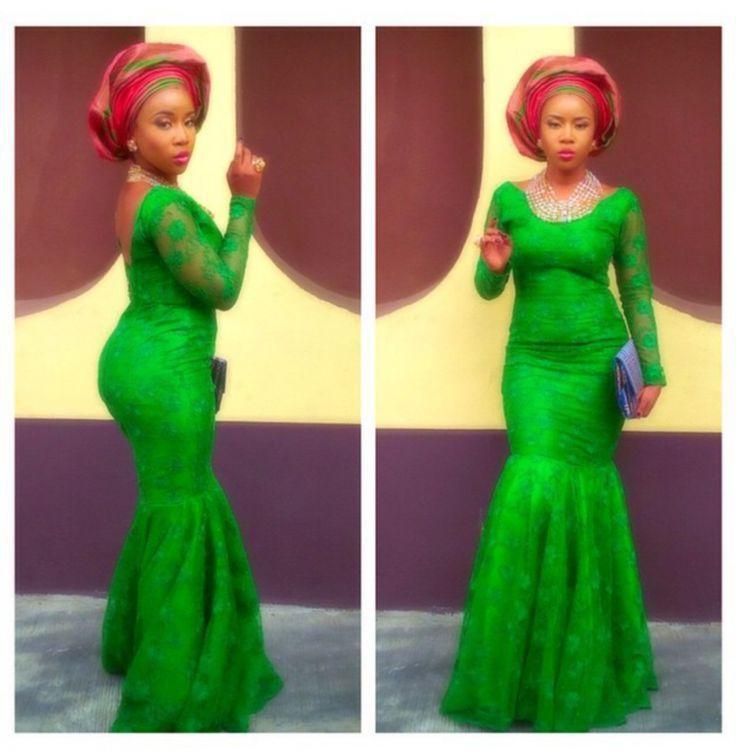Pinterest Woman Emerald: Ankara Style Emerald Green Lace Mermaid Prom Dresses 2016