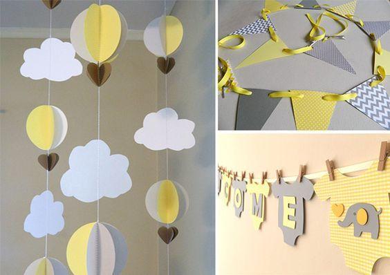 DIY para fazer no chá de bebê! Cinza e amarelo é uma ótima combinação e serve tanto para menina como para menino.