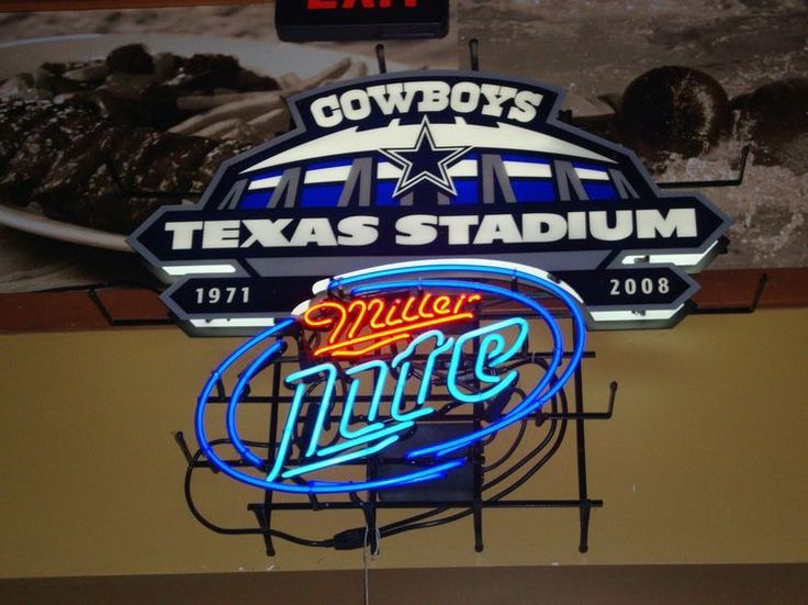 Miller Lite Dallas Cowboys Neon Sign NFL Teams Neon Light Texas Stadium