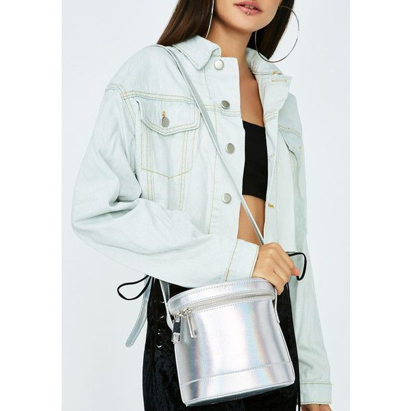 Silver Crossbody Box Bag ($22) ❤ liked on Polyvore featuring bags, handbags, shoulder bags, hologram, silver shoulder bag, crossbody purse, double zip handbag, silver crossbody purse and double zip purse