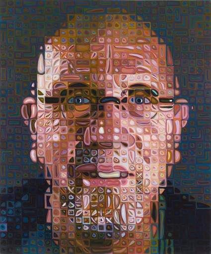 "Self Portrait-Chuck Close (interestingly, this artist has ""face blindness"", a disorder in which he cannot recognize faces. He paints portraits in order to help him remember even his own face):"