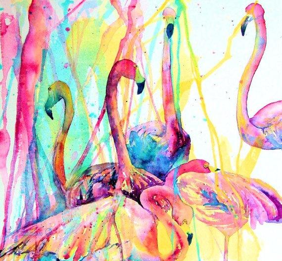 Tropical Flamingos Kitchen Art Glass Cutting Board by jenartwork, $38.95