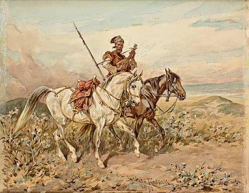 Cossak with Two Horses - Juliusz Kossak