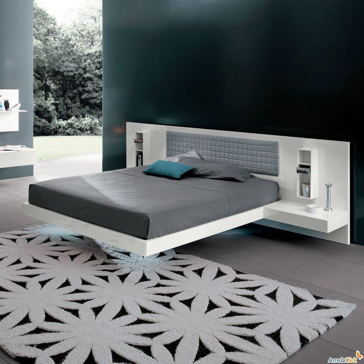 lit suspendu genius up avec coussin pour tête de lit et éclairage