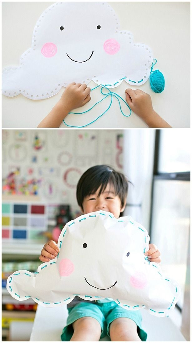 Kid-Made Happy Paper Cloud Pillow. Easy sewing project for kids and a fun fine motor skills activity.