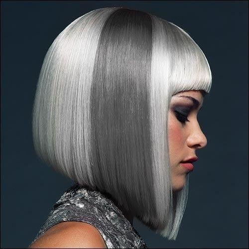 Silver and Grey bob haircut
