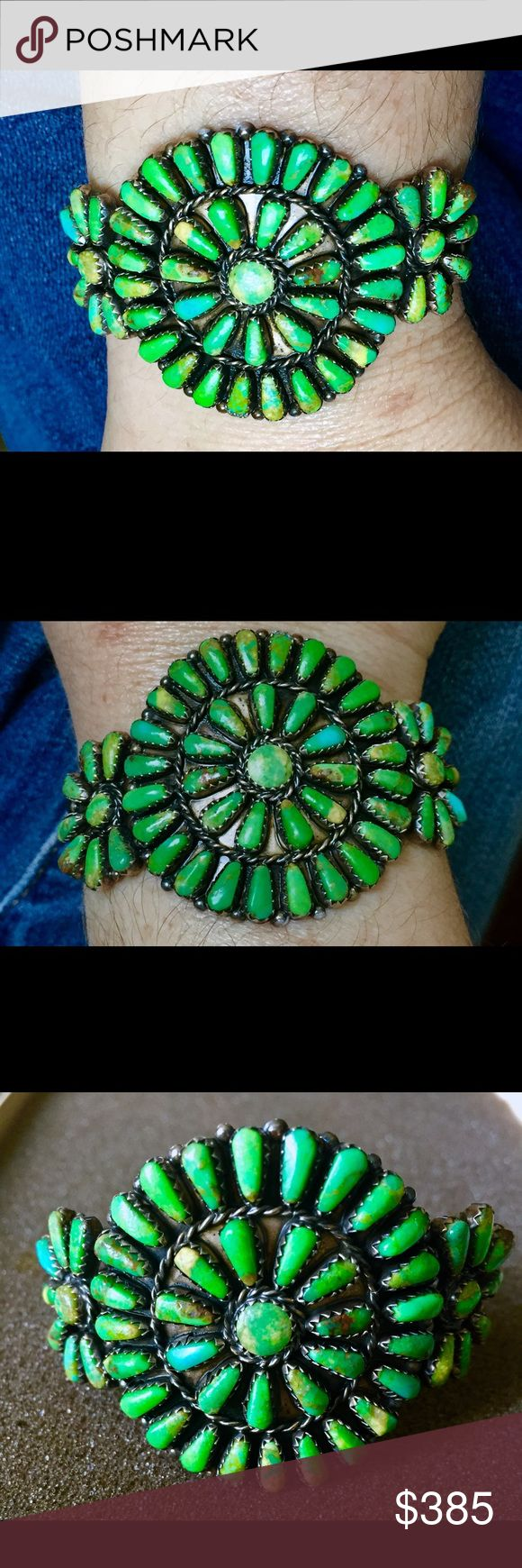"""💚Vintage Navajo Begay Turquoise Sterling Cuff💚 💚Vintage Begay Navajo Native American Green Turquoise Petit Point Cluster Cuff Bracelet💚 One of a kind, handcrafted beauty stamped sterling and hallmarked by Navajo silversmith Marc Begay with """"MB"""" Vintage Jewelry Bracelets"""