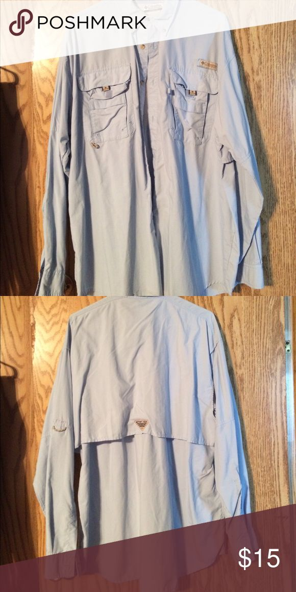 Baby blue Columbia fishing shirt Baby blue men's Columbia fishing shirt Columbia Shirts Casual Button Down Shirts