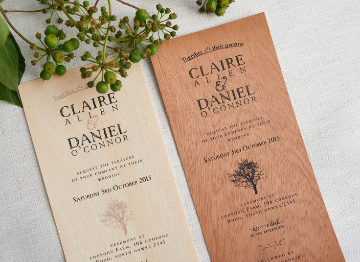 Country rustic wedding invitations. Printed on wood
