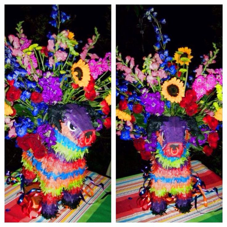 Great Mexican theme centerpieces made with piñatas! By CeCe Designs