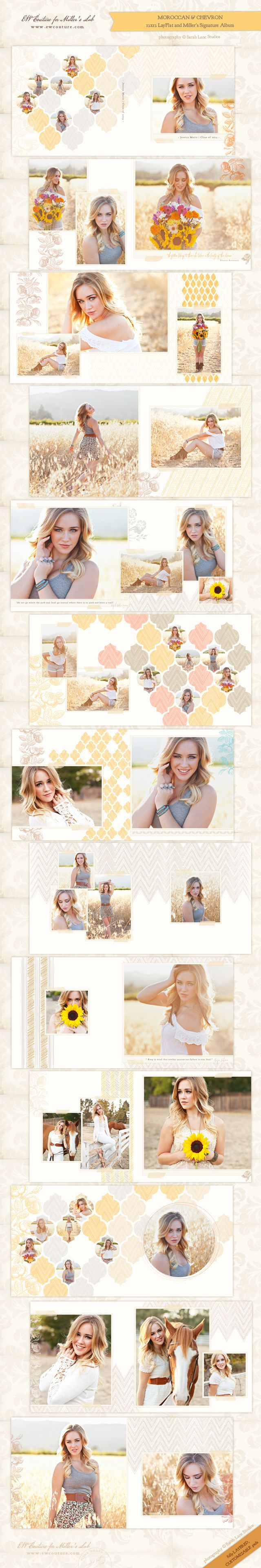Chevron and moroccan patterns with an organic, soft spin to them and taken to a whole new level. While the album - and the products matching the look of the album - were designed with a senior session in mind, this square album and book template can be the perfect one to showcase the images from a sunny afternoon family session, a client's engagement, or a bohemian wedding.  As always, the files of this square book/Signature Album are layered and fully customizable. photo ©Sarah Lane Studios