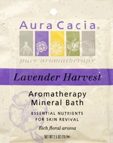 Lavender Harvest Mineral Bath Salts 2.50 Ounces by Aura Cacia. $3.29. Serving Size:. 2.5 Ounces. Lavender, lavandin and spike lavender essential oils calm the senses, relax the body and soothe the spirit.Biodegradeable, safe for whirlpools & spas, no synthetic fragrances or colors, cruelty free.