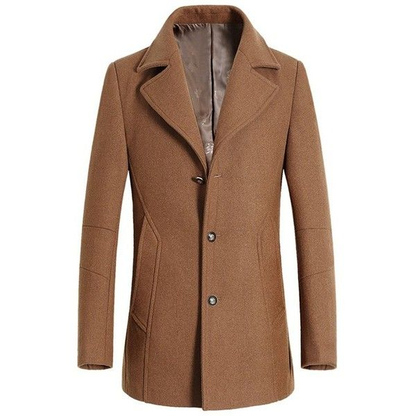 Turndown Collar Single Breasted Longline Wool Coat (3.455 RUB) ❤ liked on Polyvore featuring men's fashion, men's clothing, men's outerwear, men's coats, mens wool outerwear, mens fur collar coat, mens single breasted pea coat, mens wool coats and mens single breasted wool coat