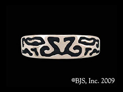 Lady's Elven Element of Spirit Band Ring with Black Onyx Enamel in Sterling Silver. This item comes packaged in a unique jewelry box and the inside band is stamped with a Sterling silver quality seal of authenticity. This Premium Design may come in the following options: necklace, earrings, pins and rings - see separate listings for each. This item may come in multiple metal options, Sterling Silver, Gold, Bronze, or other, see separate listings for each. This item is shown with a Black...