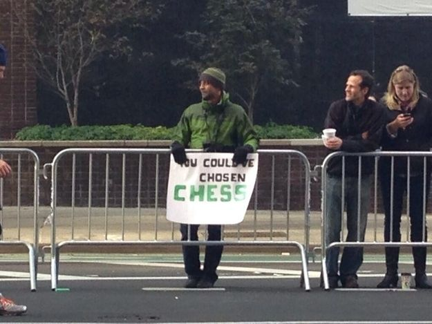 Checkmate. | The 35 Best Signs From The NYC Marathon