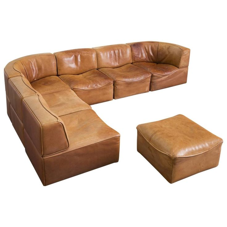 Modular De Sede Sofa in Original Patinated Leather with Seven Elements   From a unique collection of antique and modern sofas at https://www.1stdibs.com/furniture/seating/sofas/