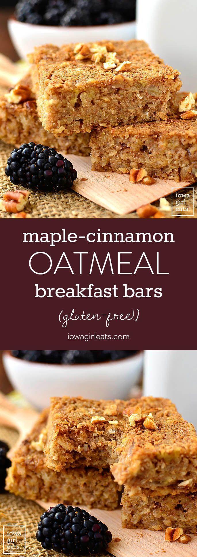Maple-Cinnamon Oatmeal Breakfast Bars arenaturally sweetened and gluten-free. Enjoy as a healthy snack or easy, on-the-go breakfast!   iowagirleats.com #glutenfree