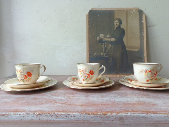 Vintage Alfred Meakin Tea cups/Saucers/Cake plates  Tea for