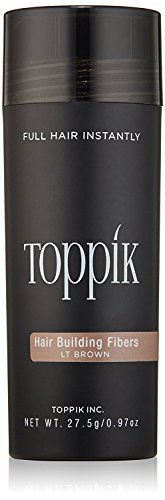 (Product review for TOPPIK Hair Building Fibers, Light Brown, 0.97 oz.). TOPPIK Hair Building Fibers instantly give you the look of thicker, fuller hair. Made of natural, colored Keratin protein that is naturally statically charged, TOPPIK Fibers intertwine with your existing hair for a completely natural look. TOPPIK resists wind, rain and perspiration but removes...
