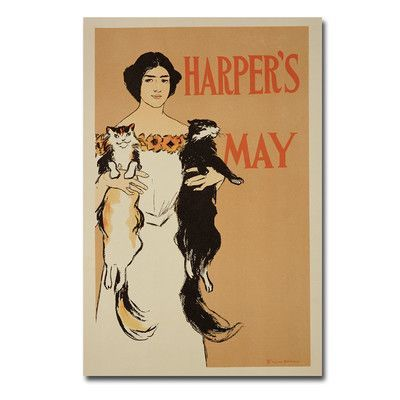 "Trademark Art ""Harper's Magazine May, 1897"" by Edward Penfield Vintage Advertisement on Wrapped Canvas Size: 24"" H x 16"" W x 2"" D"