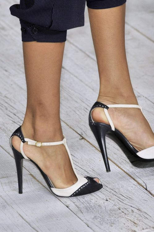 08b5ba8a7b4 Ralph Lauren Definitely would want a lower thicker heel Maybe elastic  around the ankle instead of a latch | shoe game on point ! | Cool high heels,  Shoes, ...