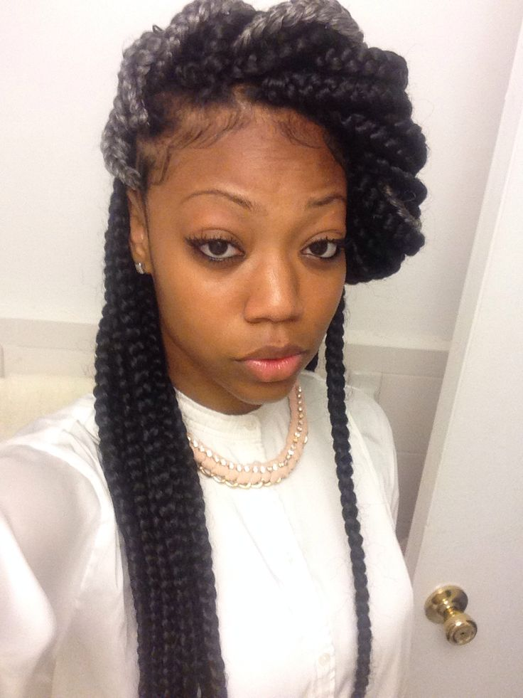 Very cute box braids style...with gray! #naturalhair