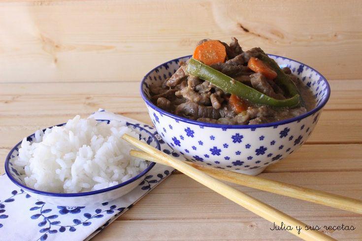Carne roja, ternera, carne, ostras, salsa de ostras, comida china, ternera china, comida oriental, Julia y sus recetas,