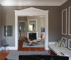 Design Sponge Beautiful Gray Taupe Paint Wall Colors Love The Jonathan Adler Greek Key Rug