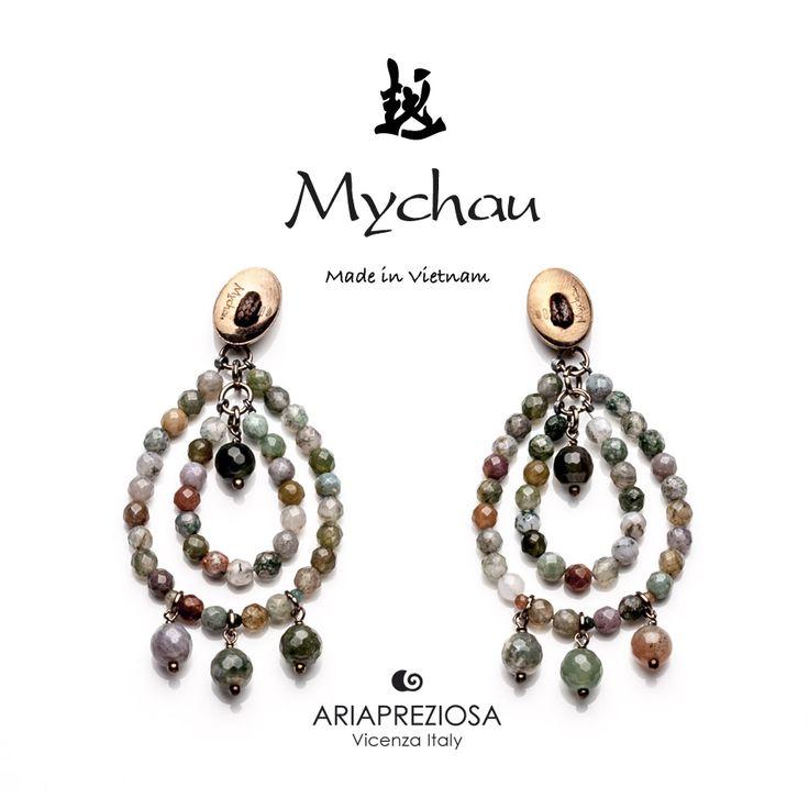 """Mychau - Coppia di orecchini Vietnam """"Big Cluster"""" a due gocce, originali, realizzati in Argento 925‰ e pietre naturali Agata Muschiata. Chiusura a farfalla"""