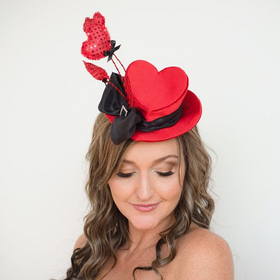Mini Top Hat Heart Shaped Fascinator red and black by TaraMDesigns