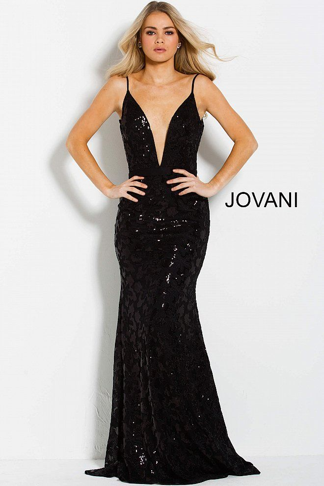 b9d798aa8da Floor length form fitting black sequin prom dress with sweeping train  features sleeveless bodice with plunging V neck