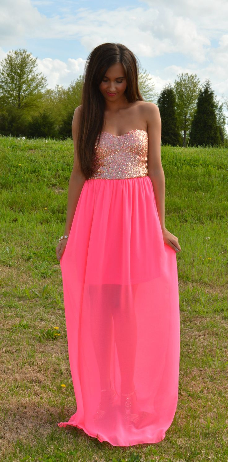 Finders Keepers Neon Maxi Dress | Haute Pink Boutique