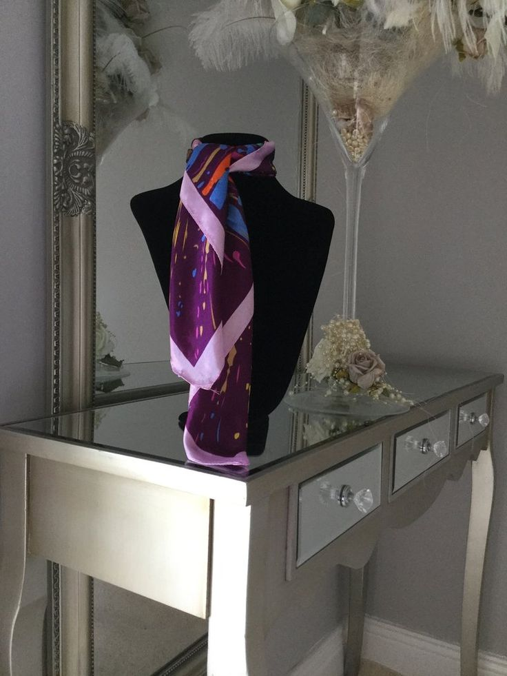 Purple and Multicolour Splatter Print Scarf stunning silk scarf is perfect to tie around your neck in numerous ways