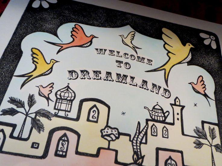 WELCOME TO DREAMLAND #dreamland #marrakech #morocco #screenprint #birds #medina #art #travels #b/w #handmade