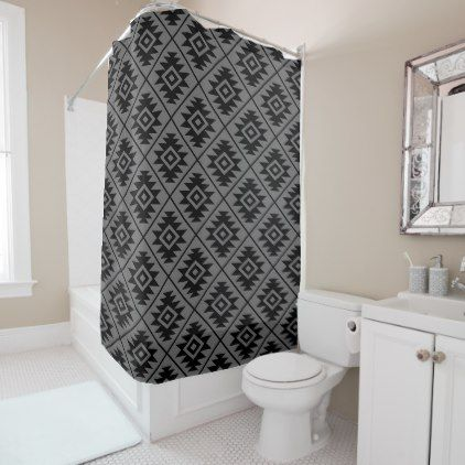 Aztec Symbol Stylized Pattern Black on Gray Shower Curtain - black gifts unique cool diy customize personalize
