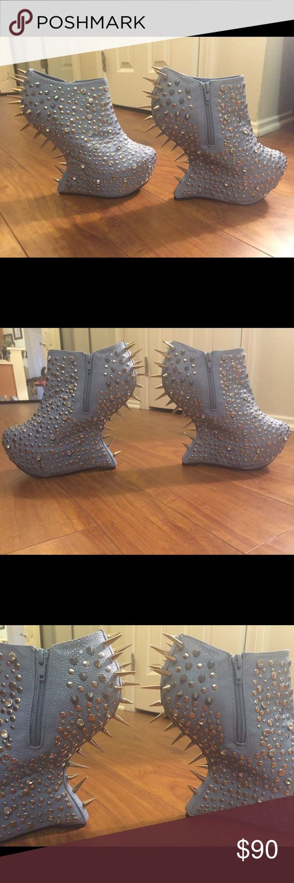 Lady Gaga style studded rockstar booties Perfect for little monsters 😘 Zipper booties with fierce spikes rhinestones and studs all over, never worn only tried on the box is too big to ship in standard usps boxes unfortunately Priviliged Shoes Ankle Boots & Booties