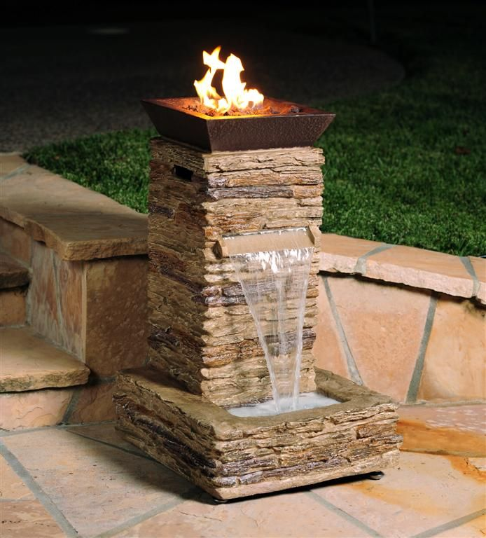 Fire pit water fountain love these on the end caps check for Fire pit water feature combo