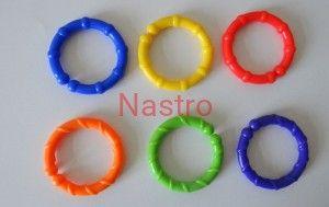 D007 c Gryzaki kółka gryzak różne kolory fioletowy, niebieski, czerwony, pomarańczowy, żółty, zielony