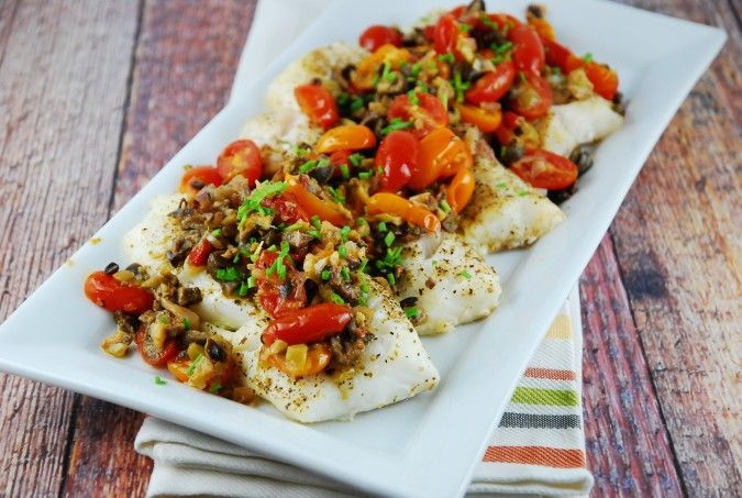 Love the sound of this Baked Cod with Olive and Tomato Tapenade from LaaLoosh; featured in the September 2014 #DeliciouslyHealthyLowCarb recipe round-up on KalynsKitchen.com.