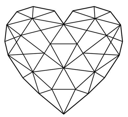 Strepik Geometrical Heart fake tattoo, a geometric heart built from triangles. Love sometimes looks complicated, but it really isn't! #t4aw #tattooforaweek #temporarytattoo #strepik #heart #geometric #tattoo