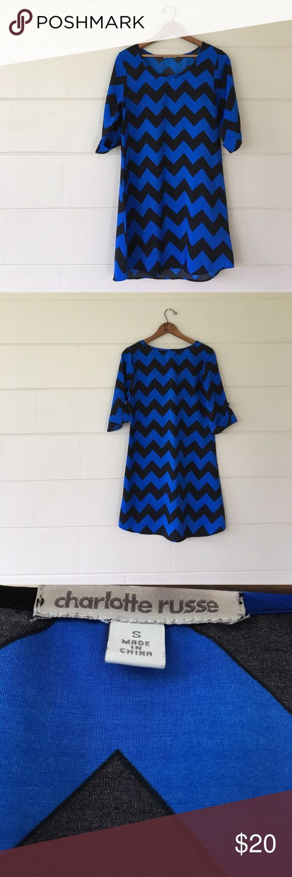 Charlotte Russe chevron print dress Charlotte Russe brand size small blue and black chevron print dress. Bust is 36 inches length is 32.5 inches waist is 37 inches. 100% polyester. Only worn once for presentation. In excellent condition. Charlotte Russe Dresses Midi