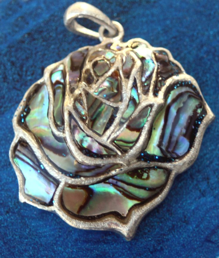 Sterling Silver Brushed rose with a Paua shell inlay size ...