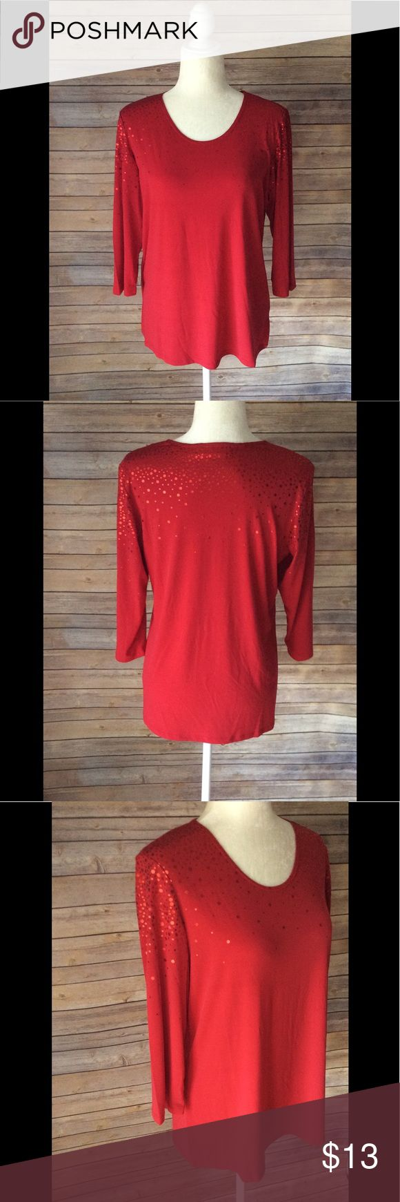 Susan Graver Red Shiny Polka Dot Size Small Susan Graver Red Shiny Polka Dot Size Small. Excellent Preowned Condition. Ships from smoke free and pet free home. Susan Graver Tops Blouses