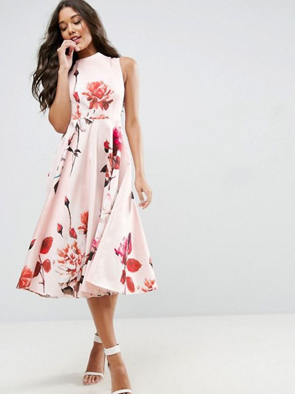 b526548c62 Breezy floral dress for summer weddings, ASOS Bow Back Midi Dress in floral  print
