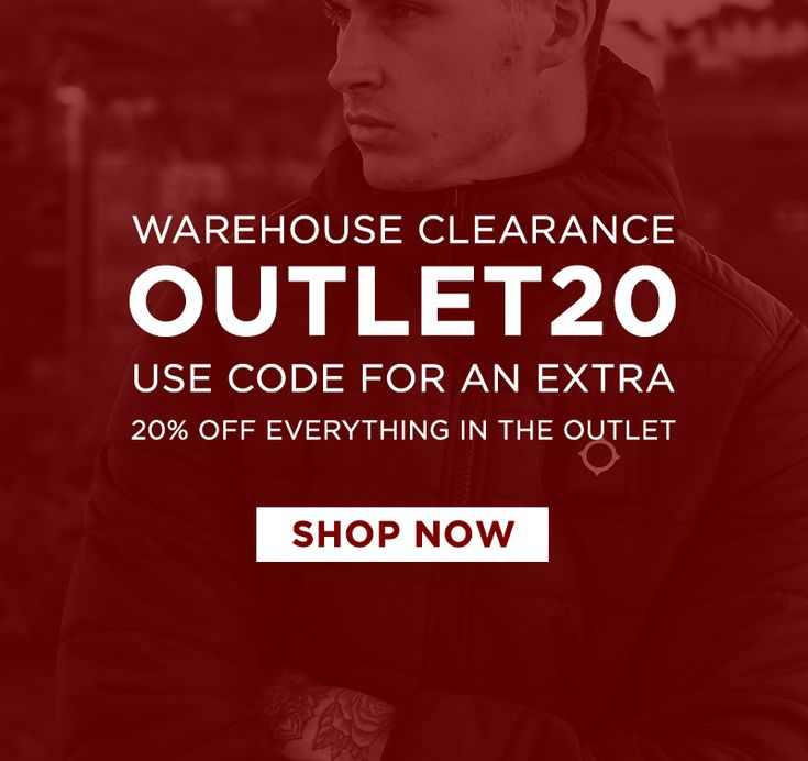 Warehouse clearance now on // Get an extra 20% off all sale items with code 'OUTLET20'