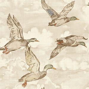 Gran Deco Flying Ducks Neutral Wallpaper