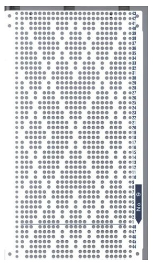 Brother 820 Knitting machine Punchcard number 9 http://www.needlesofsteel.org.uk/